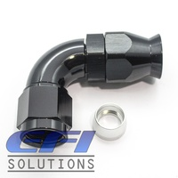 90° Degree Full Flow PTFE Teflon Hose End AN6 (Black)