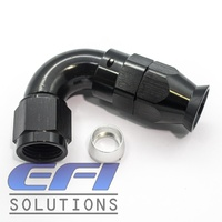 120° Degree Full Flow PTFE Teflon Hose End AN6 (Black)
