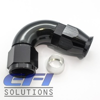 120° Degree Full Flow PTFE Teflon Hose End AN8 (Black)